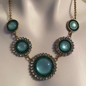 5 circle blue/ green/ gold necklace